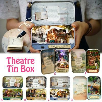 6 Themes DIY Mini Tin Box Theatre Dolls House Dollhouse Miniature Kits Toy Gift