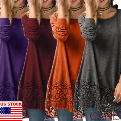 Fall Winter Casual Women Sweater Dress Short Loose Top Long Sleeve Plus Size US