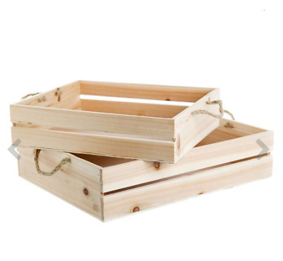 Wooden Crate Hamper Set 2 43x34x10cmH With Rope Handle Natural