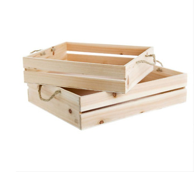 Wooden Crate with Rope Handle Set of 2 Brown (43x34x10cmH)