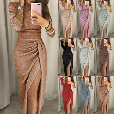 UK Womens Off Shoulder Maxi Long Dress Ladies Shiny Party Formal Dresses Evening
