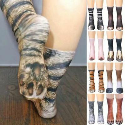 US! 3D Printed Animal Paw Crew Socks Warm Unisex Cosplay Novelty Cotton Socks
