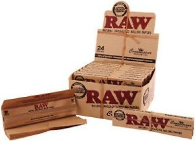 RAW Classic Connoisseur King Size Slim Rolling Papers & Tips - Box of 24
