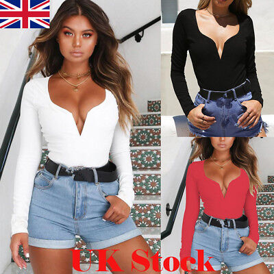 UK Womens Sexy Tee Shirt Long Sleeve Plunge V Neck Slim Fit Ladies Blouse Tops