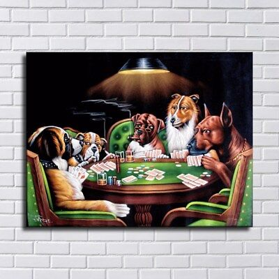 "Dogs Playing Poker HD Canvas prints 16""x20"" Home Decor Painting Wall art Picture"