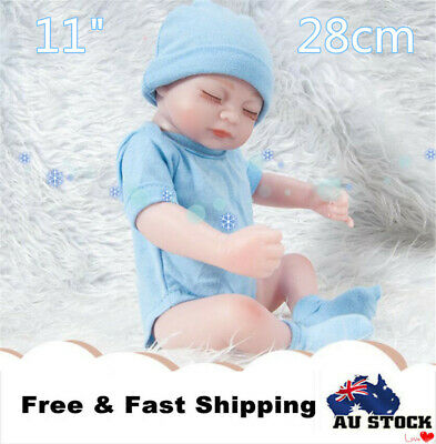 "11"" 28cm Reborn Baby Doll Real Doll Handmade Real Looking Newborn Boy Gift Blue"