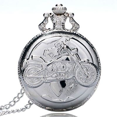 Large fine chain silver pocket watch Stylish and exquisite personality motorc N3