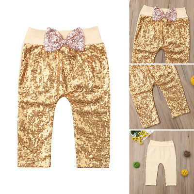 Toddler Kids Baby Girls Bowknot Bottoms Sequins Pants Leggings Trousers Clothes