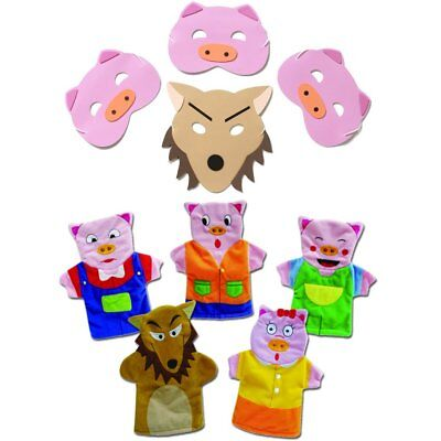 Bedtime Story Time Nursery Rhyme Blue Frog Toys Billy Goats Gruff Mask and Finger Puppets