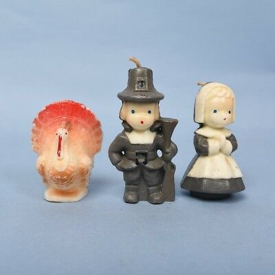 Vintage Gurley Thanksgiving Turkey with Pilgrim Boy and Girl candle