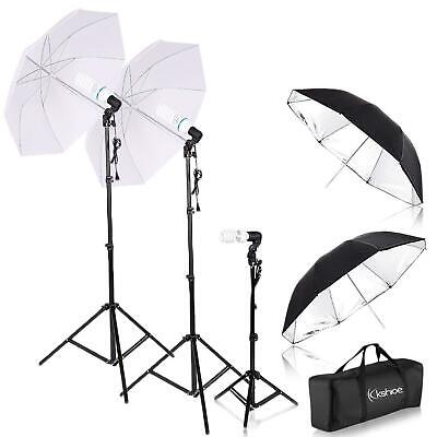 "Photography Studio Lighting Kit 4pcs 33"" Umbrella Socket Lamps Light Stand Set"