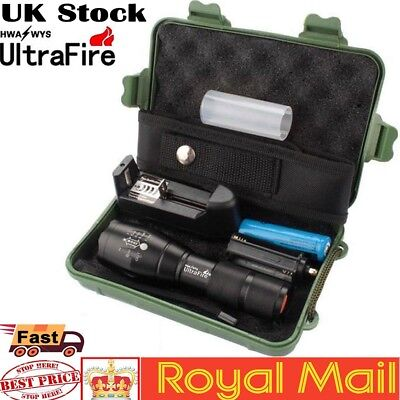UK Ultrafire Tactical 50000LM Zoomable T6 LED Flashlight Torch+18650+Charge+Case