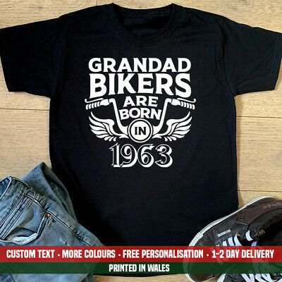 Grandad Bikers Are Born In 1963 T-shirt Motorbike Birthday Gift Top Fathers Day