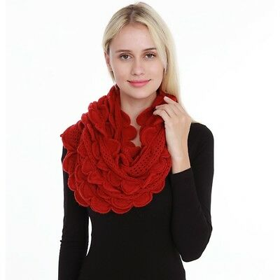 Women Circle Loop Scarf Hollowed Out Floral Border Knitted Warm Girl Neckerchief