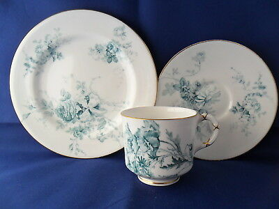 c1900 ROYAL WORCESTER TRIO BLUE&WHITE FLORAL pat.4022