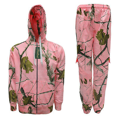 Girls Pink Realtree Tracksuit Forest Camouflage Print Hoodie & Joggers Camo Set