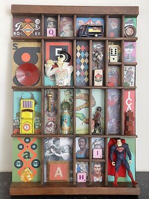 Colourful Small Wooden Printers Tray Artwork with many Quirky Collectables