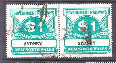 """Railway Stamps:   $1.00  Nsw Parcel Stamp  """" Sydney """"   In Pair."""