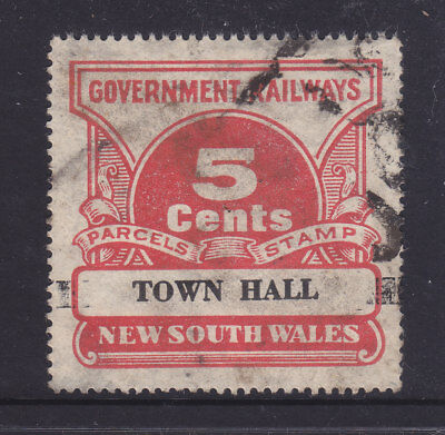 """RAILWAY STAMPS:   5c  NSW PARCEL STAMP  """" TOWN HALL """"."""