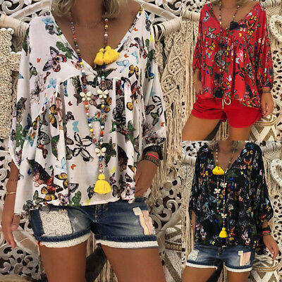 Plus Size Womens Summer Casual Shirt Ladies Long Sleeve V Neck Blouse Loose Top