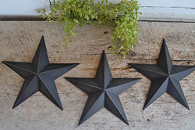 "Set of 4 ~  8"" BLACK BARN STARS Metal Tin  Primitive Country"