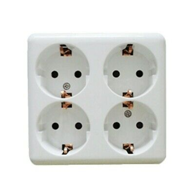 Base cuádruple schuko sin cable de 16A 250 V