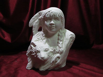 Ceramic Bisque Native American Indian Little Wolf U Paint Ready to Paint Child