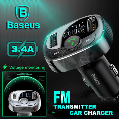 Baseus Handsfree Wireless Bluetooth FM Transmitter Radio Dual USB Car Charger