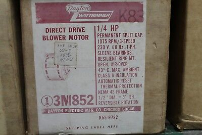 Dayton Direct Drive Blower Motor - 1/4HP - 230V - 1075RPM NEMA 48 FRAME - 3M852