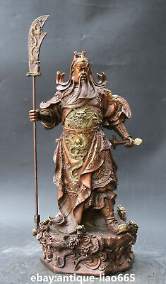China Red Bronze Animal Dragon Guan Gong Yu Warrior God Hold Knife Sword Statue