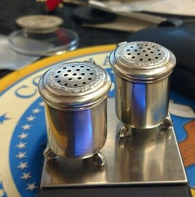 Vintage Antique Sterling Silver Norway Small Table Salt & Pepper Shakers