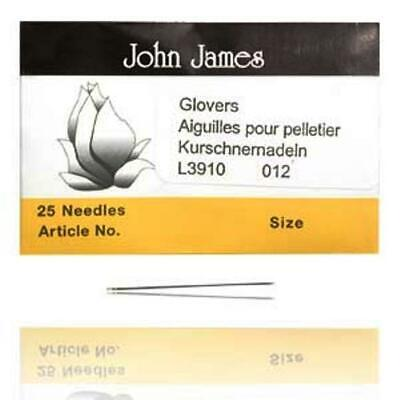 Perfect for Leather! 25 SIZE SEVEN John James English GLOVERS NEEDLES #7