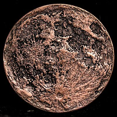 Blood Moon - Supermoon 26 Gram .999 Copper Antiqued Worry, Gift Or Reminder Coin