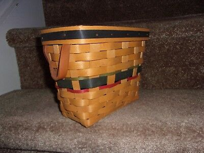 HTF Fall Longaberger Basket Blue Green Red Leather Handle 2000