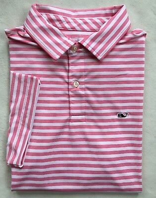 adc3c00bad VINEYARD VINES Mens Performance Polo Golf Shirt Pink White Stripe NWT MEDIUM
