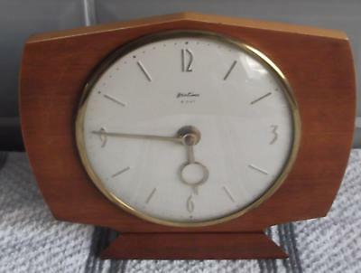 Vintage 1960s French Bentima Oak 8 Day Wind Up Mantel Clock / Desk Clock Working