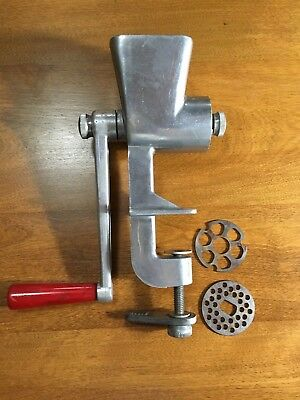 Vintage Stanat 1950S Metal Table Mount Hand Meat / Food Grinder With Red Handle