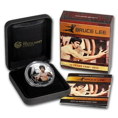 2015 1 oz Silver BRUCE LEE Perth Mint 75th Anniversary Proof Colorized Coin