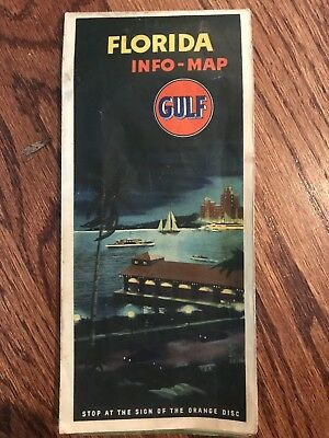 RARE VINTAGE EARLY GULF ROAD MAP of FLORIDA and CUBA - Pre-Disney Free Shipping