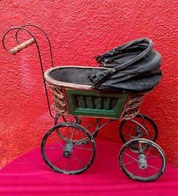 Antique Victorian Baby Doll Stroller Buggy Carriage Wood Metal For Repair  ✞