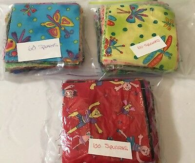 """Lot of QUILT Fabric PRE-CUT 4"""" Assorted QUILTING SQUARES 220 Pieces 100% Cotton"""