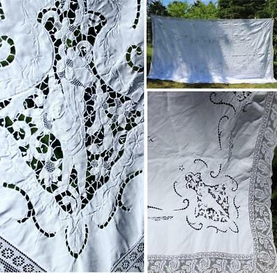 PRISTINE ANTIQUE c1920 EMBROIDERED LINEN /FIGURAL NEEDLE-LACE BANQUET TABLECLOTH