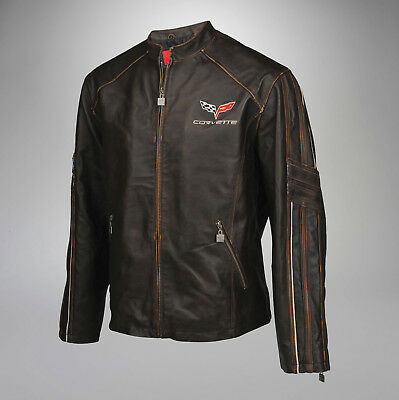 Men Leather Featherweight Light Jacket (2005-2013 C6 Corvette Logo) 4X Tall 4XLT