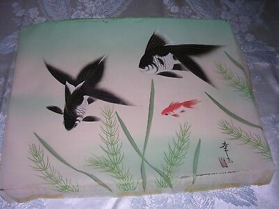 Vintage Japanese  Painting on Silk  with Koi Signed