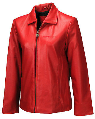 Women Super Soft Lambskin Leather Jacket (2005-2013 C6 Corvette Script) Red - 2X