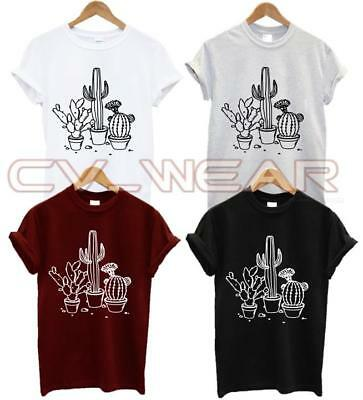 CACTUS T SHIRT lady fitted GIRL LOGO PLANT TUMBLR RARE fashion HIPSTER SWAG DOPW