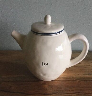 "Rae Dunn ""TEA"" Blue Line Teapot New ARTISAN COLLECTION By Magenta"