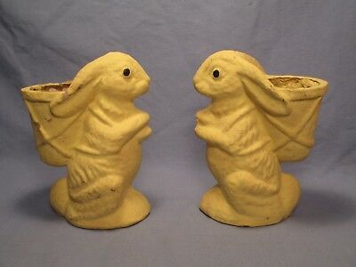"Vintage Pair of 6"" Tall Paper Mache Easter Bunnies /    ST 446"
