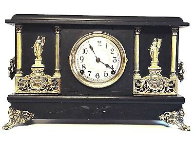 SESSIONS Antique Adamantine 8 Day Chiming Mantel or Shelf Clock, Works Well
