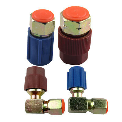 4 PIECES A/C High+Low Coupler R12 To R134a Adapter Quick Connector Blue+Red